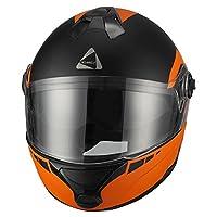 Triangle Matte Orange Dual Visor Modular Flip Up High Performance Motorcycle Helmet [DOT] (Large) by Zhejiang Jixiang Motorcycle Fittings Co., LTD
