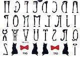 Vente chaude toxique et imperméable à l'eau non temporaires tatouages   26 anglais conceptions de lettre, noir beaux chats, des arcs de papillon rouge