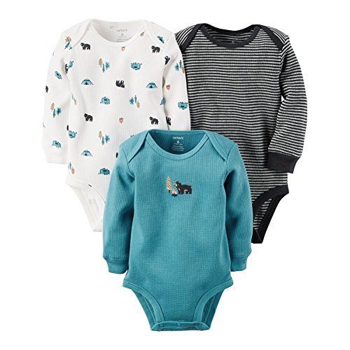 Carters Baby Boys 3-Pack Long-Sleeve Thermal Bodysuits Wild, 3M (Baby Thermal Bodysuits compare prices)