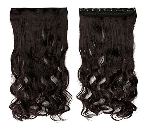 Dark Brown 17 Inches Long Curly One Piece Clip in Hair Extensions (5 Clips) Clip Ins Hairpiece for Women Lady (Used Wigs For Sale)