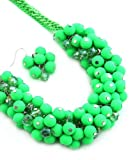 Madison Ave Fashion Neon Green Bubble Beads Necklace Set