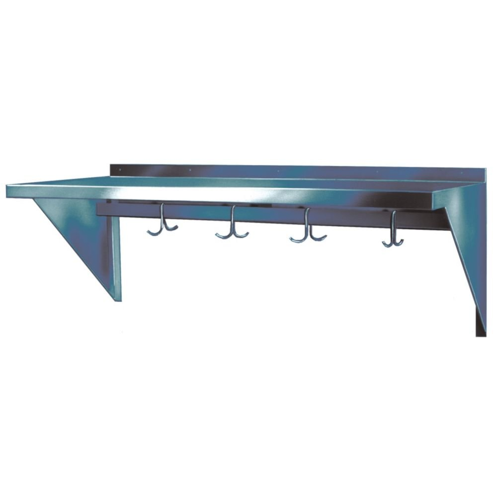 Win-Holt Stainless Steel Wall-Mount Shelving With Hooks - 84X10