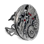 Steampunk Watch Gears Adjustable Ring in Silver
