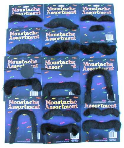 12 FAKE MOUSTACHES - ASSORTED SHAPES AND SIZES! COSTUME FUN MUSTACHE