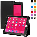 iPad 3 & 4 Case, SnuggTM - Black Leather Smart Case and Stand with Elastic Hand Strap & Soft Premium Nubuck Fibre Interior - Protective Apple iPad 3 & 4 Folio Flip Cover - Includes Lifetime Guarantee