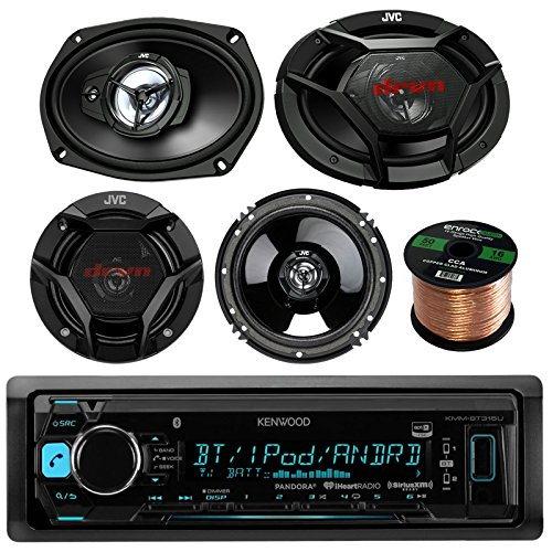 Kenwood KMMBT315U Car Stereo Bluetooth Digital Receiver Bundle Combo With 2x JVC CS-DR6930 6x9