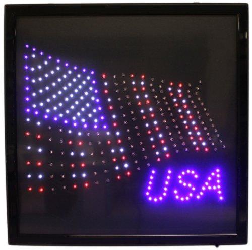 """American Flag Usa 19"""" Led Sign With Hang Chain"""