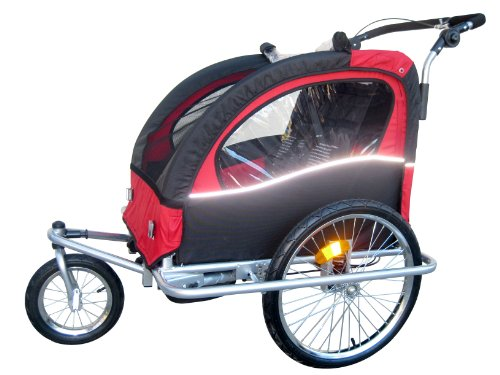 "Booyah ""Swivel"" 3in1 Double Baby Bike Trailer & Jogger Red"