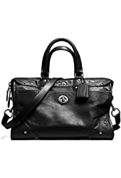 Coach,33689, Black Grain Leather Rhyder Large Satchel in Black/antique Nickel