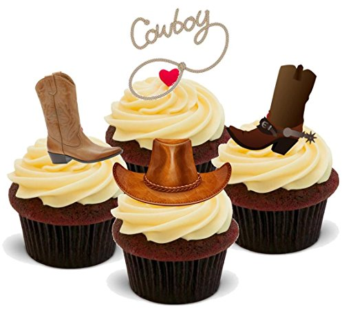 Wild West Cowboy Mix-Standups 12 Edible Wafer Standup-Topper per torta, 2 x 12 immagini, A5