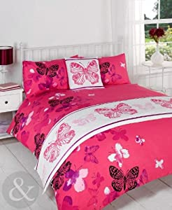 Butterfly 5pc Bed in a Bag Set - Girls Bedding Satin Quilt Cover Complete Sets Pink ( black lilac purple fuchsia ) King Size Duvet Cover ( kingsize )
