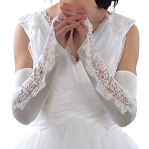 Topwedding Ivory Fingerless Wedding Gloves with Lace and Beadings - Lesbian Wedding Gloves