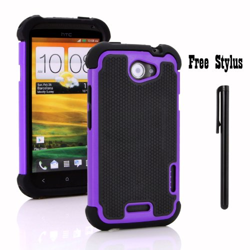Anti-shock and Bump Dual Layer Case for AT&T HTC ONE X , HTC ONE X + LTE ONLY - Soft and Hard Case Cover Skin + Stylus Pen (Anti-Shock&Bump - Black/Purple/Black) (Htc One X Phone Accessories compare prices)