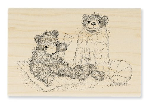 "Stampendous Wooden Handle Rubber Stamp, ""Beachy Bears"""