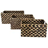 Vintage Natural Woven and Wood Storage Bins with Metal Handles (Set of 3) (Natural)