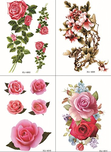 Wonbeauty with fashionable design4pcs in one package,it including 4pcs colorful flowers,roses and peony fake realistic tattoo stickers (Fake Packages compare prices)