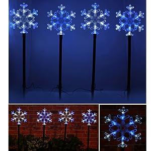 Set of 4 Blue & White Snowflake Outdoor Garden Pathway