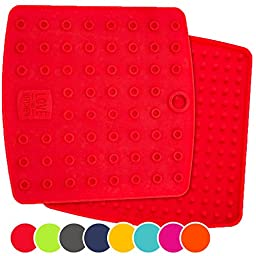 Set of (2) Premium, 5 in 1 Multipurpose Silicone Kitchen Tool: Trivet Mat, Pot Holders, Spoon Rest, Jar Opener, Coaster | Heat Resistant Hot Pads | Thick & Flexible | Great Gifts for Her (Coral Red)