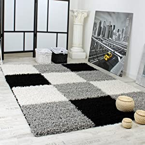 Shaggy Carpet High Pile Long Pile Chequered in Grey Black White by PHC