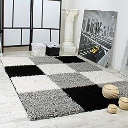 Shaggy Teppich Hochflor Langflor Gemustert in Karo Grau Schwarz Weiss, Grösse:120x170 cm