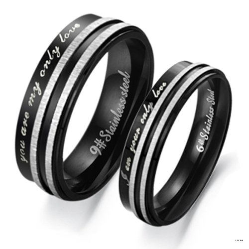 "3Aries ""You Are My Only Love"" Silver & Black Titanium Stainless Steel Men Wedding Band Couple Ring Size 8"