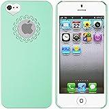 Mint Gr�n Herz Design hart H�lle Tasche Case COVER Bumper f�r Apple iPhone 5
