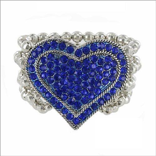 5 Line Crystal Stone Heart & Bead Bracelet #037773