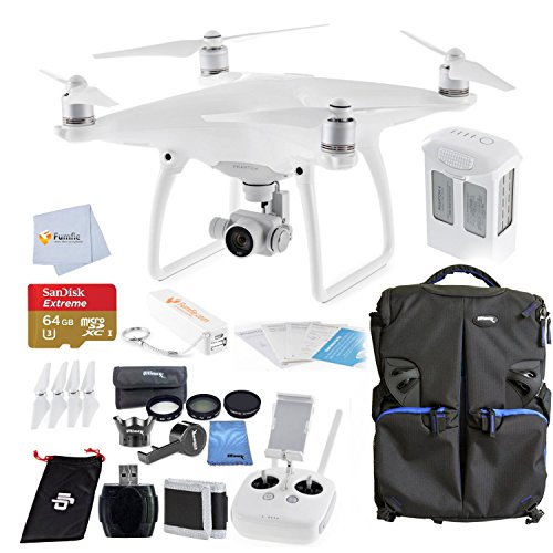 DJI Phantom 4 Quadcopter Bundle includes Sandisk 64GB Extreme MicroSDHC Memory Card + High Speed Card Reader + Fumfie External Battery Pack + 6 PC Filter Kit + Backpack for DJI Quadcopters & More!!!