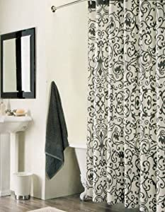 100 Percent Cotton Shower Curtain Floral Scroll Black White 72 In