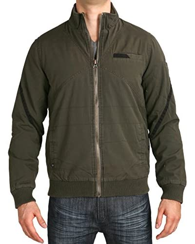 Micros Men's Fighter Zip Front Twill Jacket with Ribbed Bottom