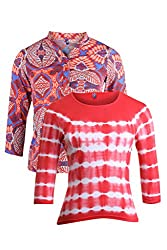 Vvoguish Pack of 2 Casual Tops VV1164RED1297RED-S