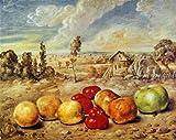キリコ・「田園風景のなかの果物」 プリキャンバス複製画・ 【ポスター仕上げ】(8号相当サイズ)