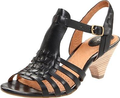 Clarks Women's Evant Emma Wedge Sandal,Black Leather,5.5 M US