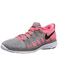 Nike Women's Wmns Flyknit Lunar 2, LIGHT CHARCOAL/BLACK-HYPER PUNCH