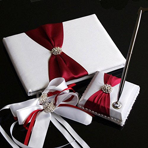 KateMelon Wedding Accessories Pure Elegance Guest Book and Pen Set with 2 Decorative Satin Bows