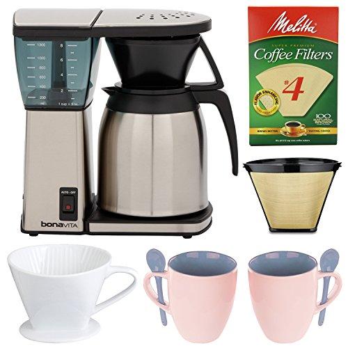 Bonavita Coffee Maker Filter : Bonavita BV1800SS 8 Cup Coffee Maker With Thermal Carafe + Gold Tone Basket Coffee Filter ...