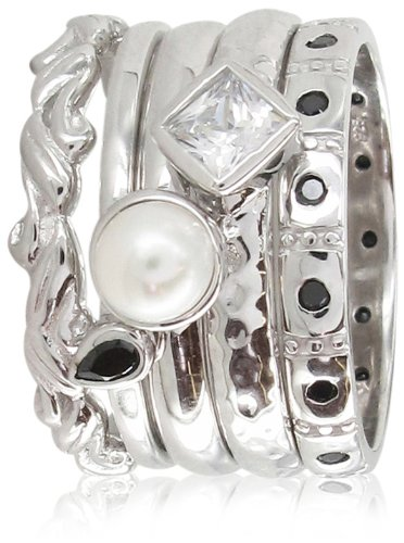 Stack Ring Co, Sterling Silver,White Dwarf Rhodium Plated ,White And Black Cz, White Pearl , 5 Band Freedom And Prima Mix Stack Ring - Size J