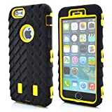 Iphone 6 Plus Case Meaci® Cellphone Case for Iphone 6 Plus 5.5 Inch Case 3in1 Tire Stripe Combo Hybrid Defender High Impact Body Armorbox Hard Pc&silicone Protective Bumper Case (Tire Yellow)
