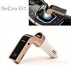 "SeCroâ""¢ G7 Bluetooth FM Transmitter With USB Flash Drives /TF Music Player Bluetooth Car kit USB Car charger (Golden)"