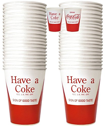 (Set of 2) Coca-Cola Paper Cups Refill 24 Pack Different Coke Designs Each Side (Fountain Drink Cup Dispenser compare prices)