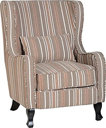 Sherborne Fireside Chair in beige a righe