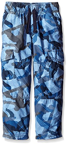 Gymboree Little Boys' Jersey-Lined Blue Camo Ripstop Cargo Pant, Blue Camo, 5
