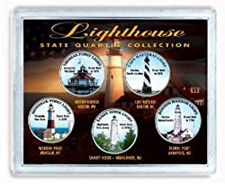 Colorized Lighthouse State Quarters 5 Coin Collection