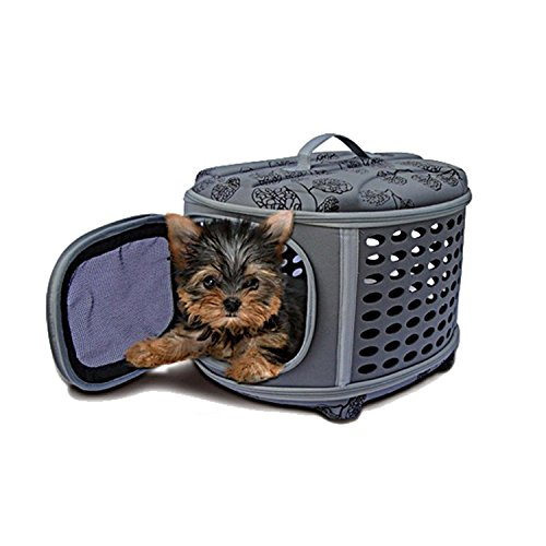Pettom Soft- Sided Pet Travel Carrier Cat and Dog Retreat Kennel Home and Tote Bag black