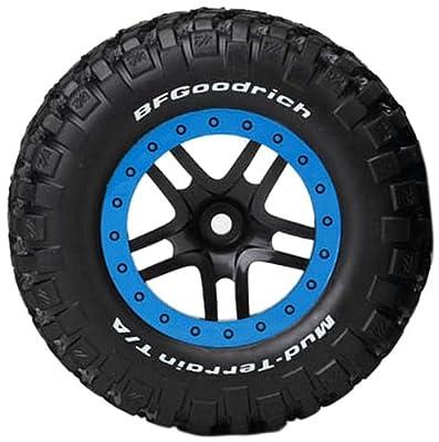 Traxxas 5885A KM2 Tires on Split-Spoke Black Wheels, Slash Front, 2-Piece