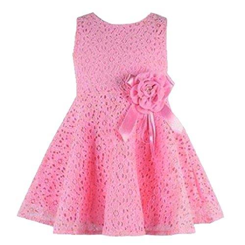 Amison Carina 1PC Ragazze Bambini Versione Pizzo Floreale Uno Pezzo Abito Bambino Principessa Vestito da partito (Rosa, 4)