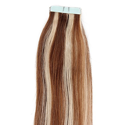 "Beauty7 16"" 18"" 20"" 22"" 24"" Tape In Real Human Hair Extensions #8/613 Light Brown & Blonde 45-50G 20 Pieces (22"" 50G) front-16296"