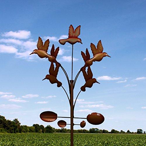 Dancing Hummingbirds Windmill Wind Spinner 7 Feet