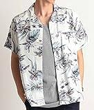 花柄アロハシャツ 花柄 アロハ柄 オープンカラー レーヨン 半袖 Mサイズ 11ホワイト