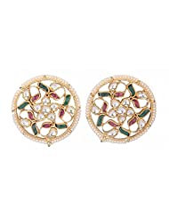 Amethyst By Rahul Popli Multi-Colour Gold Plated Stud Earrings